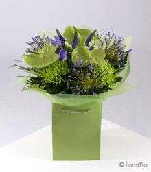 Green and Purple Bouquet in water