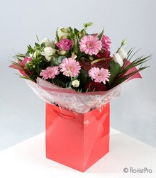 pink and red bouquet gerberas roses carnations alstromeria flowers florist harold wood romford same day delivery