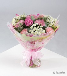 pink bouquet girl flowers roses gerberas florist harold wood romford same day delivery