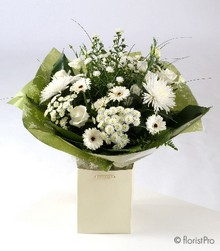 Pure white bouquet in aqua pack gift bag or box
