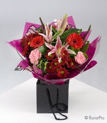 pink lily red chrysanthemum bouquet aqua pack flowers florist harold wood romford same day delivery
