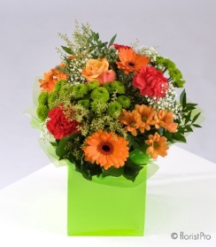 orange bouquet roses gerberas bright green chrysanthemum flowers florist harold wood romford