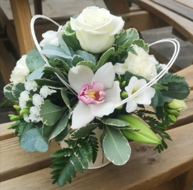 white flowers rose orchid loops mixed stems pot arrangement in oasis florist harold wood romford