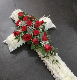 red rose coffin casket cross spray flowers white based luxury florist romford harold wood